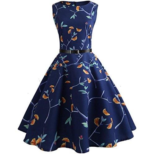 MRULIC Cocktailkleider Damen Prinzessin Abendkleid Vintage Kleid Hepburn Kleid Ärmellos Sommer Swing Abschlussball Partykleid Mädchen Urlaub Kleid