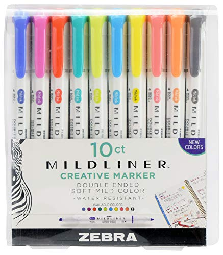 Zebra Pen Mildliner Double Ended Highlighter Set, Broad and Fine Point Tips, Assorted Refresh and Friendly Ink Colors, 10-Pack (78501)