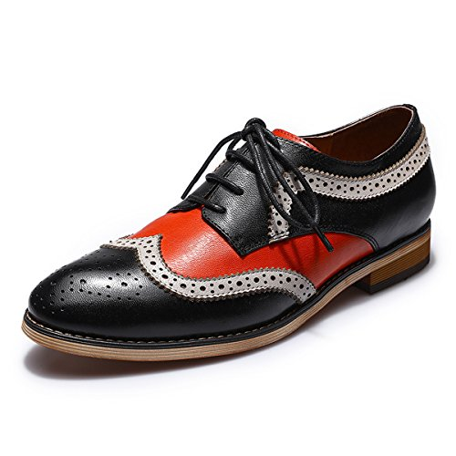 Mona flying Women's Leather Perforated Lace-up Brogue Wingtip...