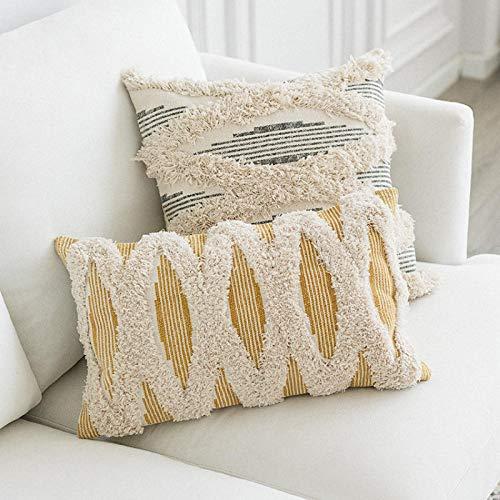 Xijiang cojín decoración cubierta de almohada tufted moderno minimalista rayas geométricas hogar sofá silla ropa de cama decoración C
