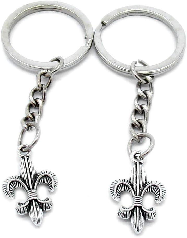 5 Items Metal Keychain Keyring Key Tags Chains Rings Jewelry Bag Charms M0LG5 Fleur De Lis Iris Lily