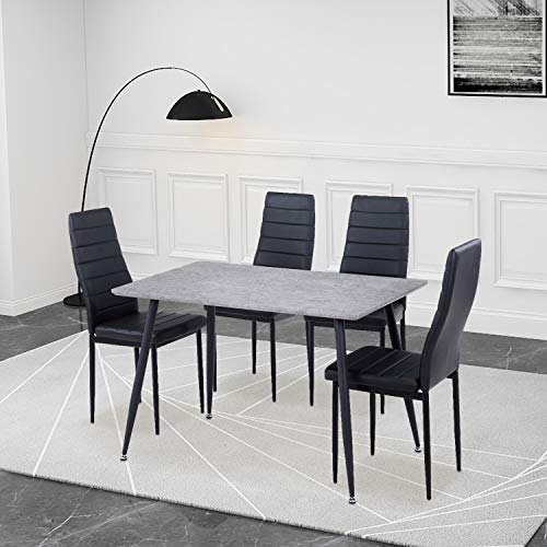 GOLDFAN Esstisch und Vier Stühle Retro-Gestalteter Rechteckiger Esstisch und Küchenlehnenstühle mit Hoher Rückenlehne für Wohnzimmer Esszimmer, schwarz