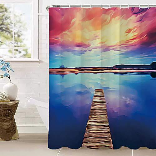 Kleurrijke zonsondergang dramatische hemel over houten planken pier Calm Water Bad Gordijnen, Waterdichte Meldauwbestendig Polyester Stof Badkamer Setsmet 12 Haken (100% Polyester)