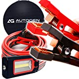 AUTOGEN Jumper Cables 1 Gauge 30 Ft 900A Booster Cables with 100% Copper Jaws Jump Start Heavy Duty Trucks