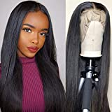 14 Inch Glueless Straight Lace Frontal Human Hair Wig Pre Plucked Brazilian Straight Human Hair Wig with Baby Hair Glueless Lace Wigs Front Human Wig 9A 150% Density Pre Plucked Wig Natural Hair Line
