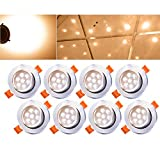 Hengda® 8er Pack 7W LED Einbauleuchte Warmweiß Leuchte Einbaustrahler Set Decken Spot Lampen Bohrung 95mm