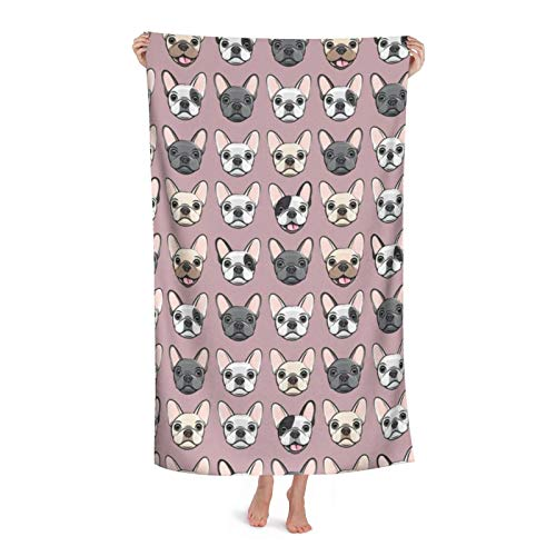 All The Frenchies French Bulldog Dog Breed Frenchie Mauve Soft Highly Absorbent Multipurpose Bath Towel Oversized Towels Beach Towel for Travel Pool Gym Spa, 31'x 51'