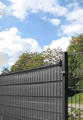 Sichtschutz/Windschutz in grün oder anthrazit - 500 cm Länge - Verschiedene Höhen - passend für Stabmattenzaun - aus äußerst robusten HDPE Kunststoffgewebe (Sichtschutz L 500 cm H 100 cm Anthrazit)