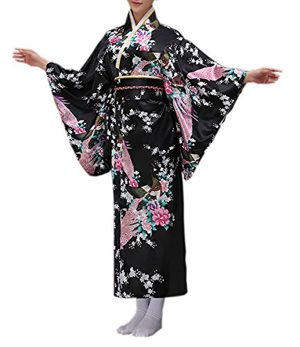Nuoqi Donne Giapponese Tradizionale Kimono Accappatoio Vestaglia Costumi Cosplay (Nero, L)