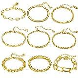 9 PCS Chain Bracelets Set for Women Gold Adjustable Fashion Paperclip Link Beaded Italian Cuban Chunky Flat Cable Chain Bracelets Jewelry for Women Girls Gift