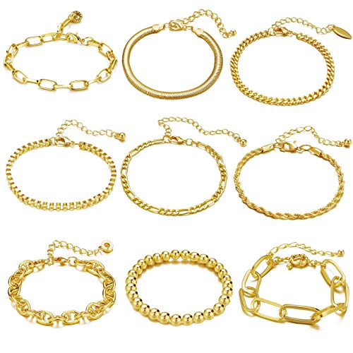 9 PCS Gold Chain Bracelets Set for Women Gold Adjustable Fashion Paperclip Link Beaded Italian Cuban Chunky Flat Cable Chain Bracelets Jewelry for Women Girls Gift