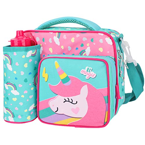 WHT Lunch Tasche für Mädchen, Kinder Einhorn Kühltasche Lunch Bag mit Flaschen Brotdose Lunchtasche mit Schultergurt Flaschenhalter 3 Fächer Thermotasche Mittagessen Tasche für Schule Picknick Reisen