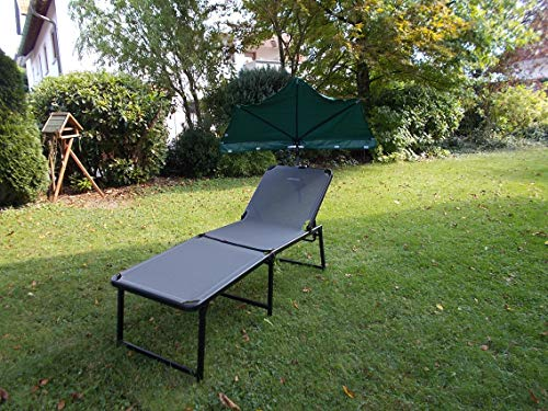 Holly Outdoor – Tumbona alta – Ancho, productos estables, con paraguas, color verde oscuro