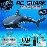 AMITD Mejoró con Mando a Distancia RC tiburón Barco, simulación 2.4G Buque Submarino tiburón Barco de Juguete para la natación, niños, de 4 Canales RC Barcos RC