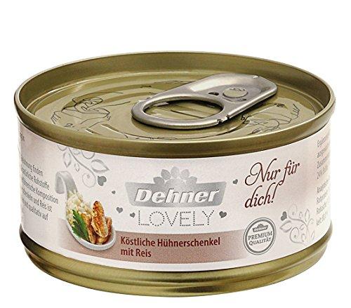 Dehner Premium Lovely Katzenfutter Adult, Ergänzungsfutter, Hühnerschenkel und Reis, 24 x 70 g (1.7 kg)