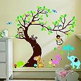 Wall Decoration decalcomanie Casa dei bambini della scuola materna rimovibile Wall Stickers Rainbow Fox Treno con Cute Animals leone Elefante giraffa scimmia coniglio TigerWall adesivi parete