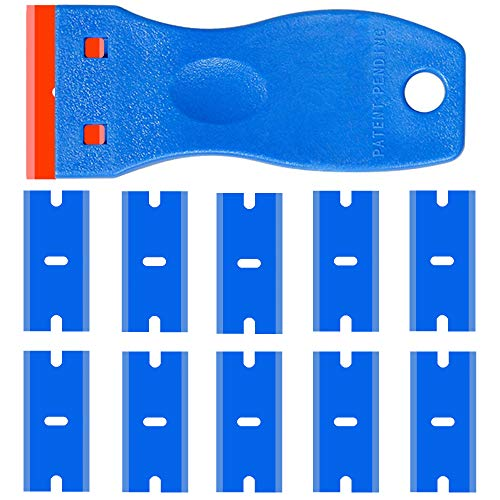 Double Edged Plastic Razor Blade Scrapers Knife with Contoured Grip for Scraping Labels and Decals Sticker From Glass, Windshields and Auto Window Tint Vinyl Tool Application (Blue Scraper+10 Blades)