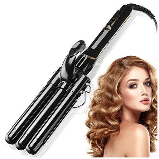 - 515p88GyvKL - Luckyfine 3 Barrel Hair Curling Iron 22mm with LCD Temperature Display, Hair Curling Waver Ceramic Anti-Scald