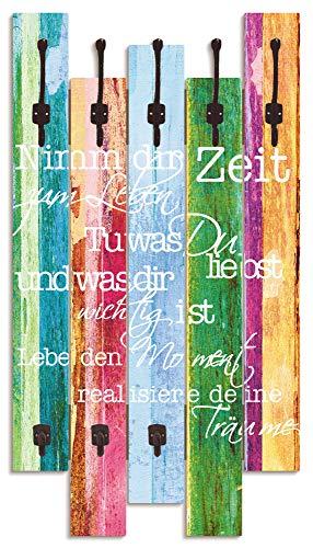 Artland Wandgarderobe Holz Design mit 8 Haken Garderobe Paneel mit Motiv 63x114 cm Schriftzug Zitat Shabby Chic Holzoptik Kunst Bunt T9IL