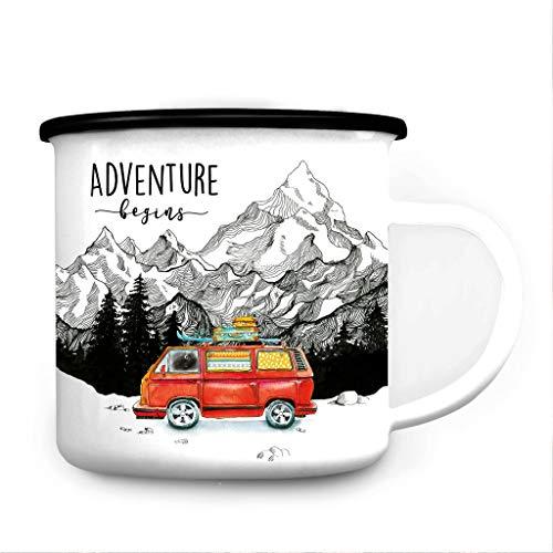 Wandtattoo Loft Emaille Campingbecher Adventure Begins Bulli Surfbus/schwarzer Becherrand