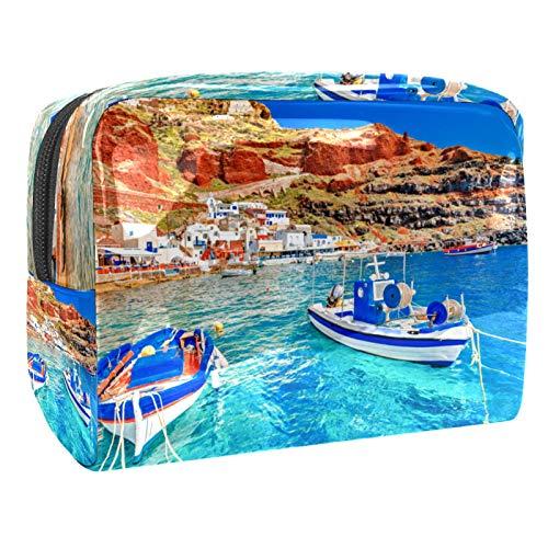 Neceser de Maquillaje Estuche Escolar para Cosméticos Bolsa de Aseo Grande Dos Barcos de Pesca anclados al Muelle en el mar Egeo
