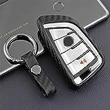 Funda suave para llave de coche de M.JVisun, para BMW Serie 2 3 5 6 7 Series M5 X1 X2 X3 X5 X5M X6 X6M silicona TPU fibra de carbono cubierta – Negro – Llavero redondo