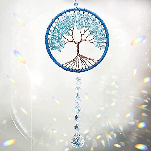Cosylove Baum des Lebens Kristall Suncatcher Anhänger Auto Rückspiegel Hängende Kristalle Ornament Kronleuchter Prisma Regenbogen Maker für Fenster Sun Catcher Hausgarten Dekoration(Blau)