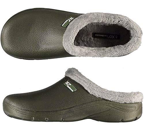 Trachten-Dirndl-More Zuecos para hombre, color verde, zapatos de jardín con pelo y suela lisa, color Verde, talla 41 EU