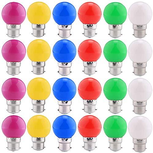 24 Pack ampoules LED de couleur B22 ampoules lanterne à baïonnette 2W, violet, vert, bleu, rouge, jaune, blanc chaud, Noël, arbres, veilleuses de fête de fée [Classe A Energy +]
