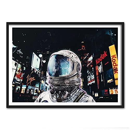 Liuqidong Cuadro de Arte de Pared Póster e impresión de la Vida Nocturna de la Vida Nocturna del surrealismo Pop de Ciencia ficción para la decoración del hogar de la Sala de Estar 60x90cm