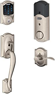 Schlage Connect Camelot Touchscreen Deadbolt with Built-In Alarm and Handleset Grip with..