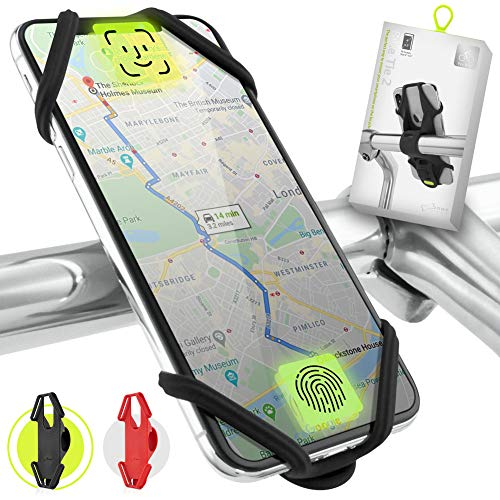 Bone Collection Face ID kompatibel, Anti-rutsch Fahrrad Handyhalterung für die Lenkstange, 4-6,5 Zoll Smartphones - Bike Tie 2, Schwarz