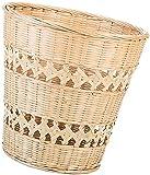 dh-4 Cestino per rifiuti Rotondo in bambù Cestino per rifiuti in Rattan Cestini portaoggetti in Paglia Cestino per immondizia in Legno Cesto per Biancheria Decorativo Cesto per Fiori