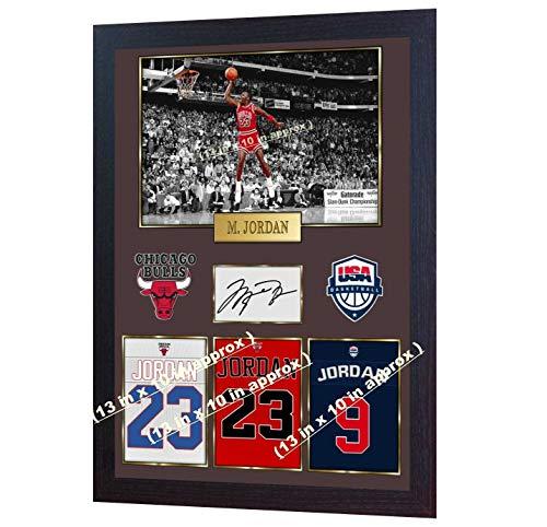 SGH SERVICES New gerahmtes Poster Michael Jordan Chicago Bulls NBA Autogramm Vordruck Basketball Memorabilia NBA Autogramm Foto Druck gerahmt MDF-Rahmen Fotodruck #10