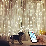 String Lights Curtain,USB Powered Fairy Lights for Bedroom Wall Wedding Party Valentines Day Decor,Sound Activated Function Can Sync with Any Voice (Cool White,7.87Ft x 5.9Ft)