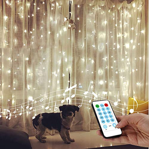 String Lights Curtain,USB Powered Fairy Lights for Bedroom Wall Thanksgiving Christmas Decorations,Sound Activated Function Can Sync with Any Voice (Cool White,7.9Ft x 5.9Ft)