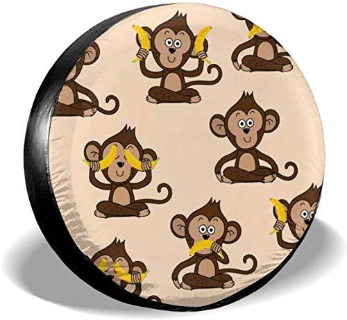 MODORSAN Monkey Love Banana - Cubierta de poliéster para Rueda de Repuesto, Cubiertas universales de Rueda para Jeep, Remolque, RV, SUV, camión, Accesorios, 15 Pulgadas