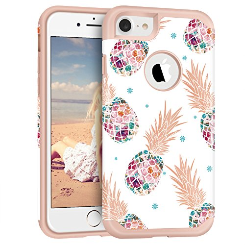 Imikoko iPhone 7 Case Pineapple, Hybrid Protective Heavy Duty Hardshell Case Floral Hard Scratch Proof Case Hard PC with Durable TPU Cute Protective Case for iPhone 7 4.7'