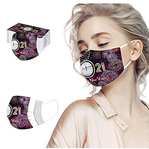 10/50 Piezas Unisex 3 Capas Cubierta Facial, Feliz año Nuevo 2021, Para Correr, Andar en Bicicleta, Esquiar, Actividades al aire Libre