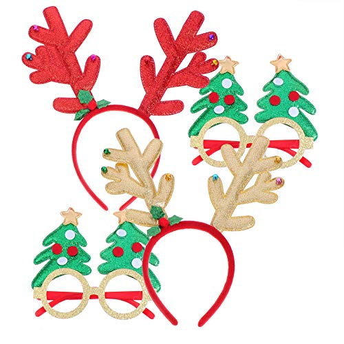 FRCOLOR 4pcs Christmas Costume with Glitter Reindeer Antlers Headband Christmas Tree Eyewear Glasses Xmas Party Dress Up Photo Props for Halloween Holiday Cosplay