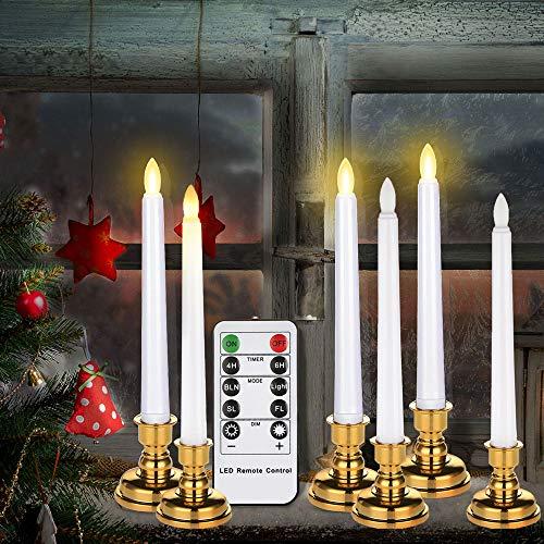 Freepower 6 Flammenlose LED Spitzkerzen mit Timerfunktion, Led Stabkerzen Tafelkerzen, Leuchterkerzen mit warmweißes Licht, für Partys, Hochzeiten, Geburtstag, Abendessen, Festival-Dekorationen,