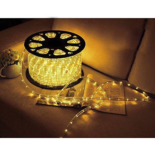 Hengda 20m LED Lichtschlauch, 480 LEDs Lichterschlauch, Lichterkette Wasserdicht, für Outdoor Balkon, Terrasse, Hochzeit, Party, Gelb Lichtschläuche