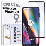 REY Protector de Pantalla Curvo para Motorola Moto G 5G Plus, Negro, Cristal Vidrio Templado Premium, 3D / 4D / 5D, Anti Roturas