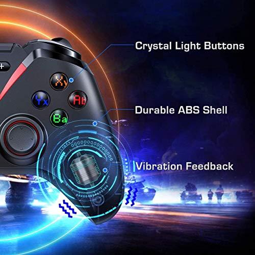 Wireless Controller, Wiederaufladbare Bluetooth Gamepad for Android/Switch, 40+ Stunden Akkulaufzeit Gaming-Trigger Joystick Handy-Game-Controller mit Telefon-Halter Game-Controller-kompatibel mit d