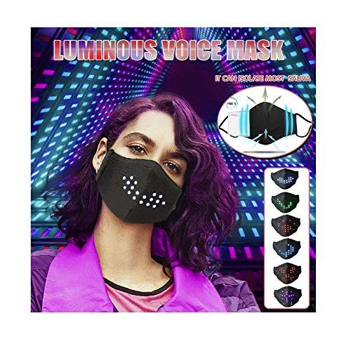 1 Stück LED Sprachaktivierter Mundschutz Luminous, Rave Leuchtende Musik Mundschutz Erwachsene, Gesicht USB Voice-Activated Mund und Nasenschutz Waschbar für Bars, Festival, Party