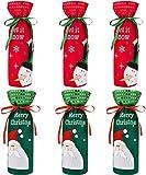 LYTIVAGEN 6 PCS Bolsas de Vino de Navidad Bolsa de Regalo Bolsas de No Tejido Botella de Champagne Decoradas para Navidad Decoración de Botellas Regalo Adornos de Mesa Dulces Comedor (Rojo y Verde)