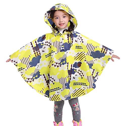 chuangminghangqi Regenmantel Kinder Regenponcho mit Kapuze wasserdicht regencape für Kinder und Mädchen (M, Gelb)