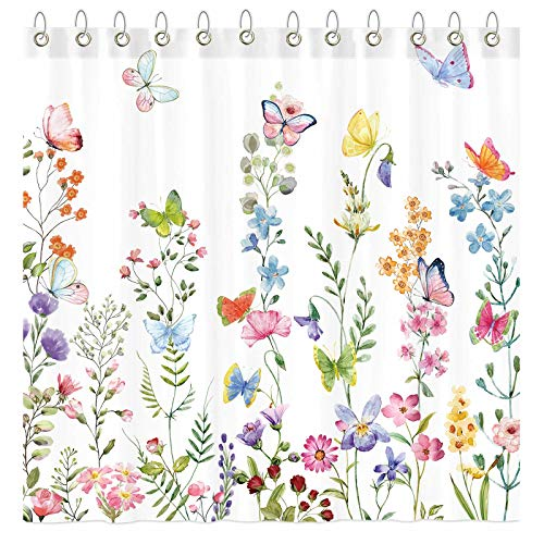 """Funnytree Floral Plant Watercolor Flower Butterfly Shower Curtain Set with Hooks Home Bathroom Bathtubs Decor Easy Care Waterproof Machine Washable Durable Polyester Fabric 72""""x72"""""""