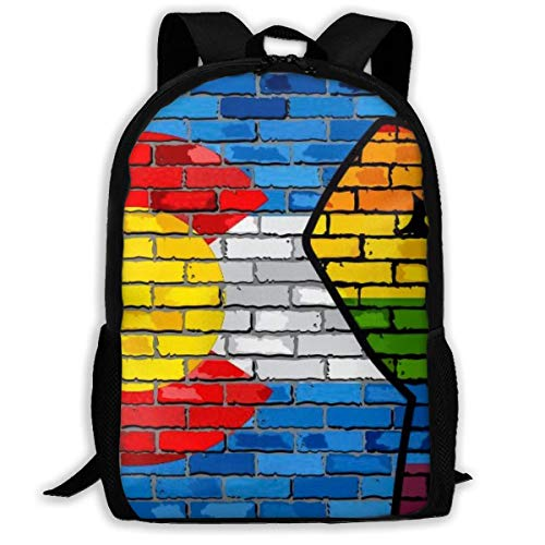 Schulrucksäcke LGBT Protest Faust Auf Einer Colorado Backsteinmauer Flagge Laptop Rucksack Komfortabel Sportrucksack Wasserdicht Reisenrucksack Für Teenager Jungen Mädchen