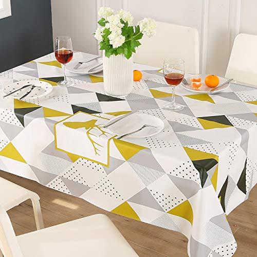 ENCOFT Nappe de Table 100% PVC Rectangulaire Imperméable Anti-Taches/Rayures/l'huile Couverture de Table pour Cuisine Pique-Nique (137x180CM, Triangles Géométriques Jaune&Blanc& Gris)